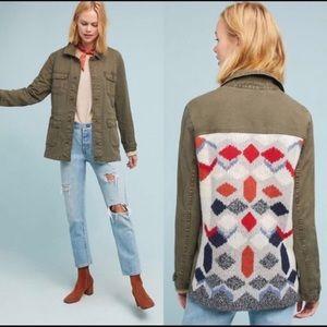 Anthropologie knit back Aztec utility Jacket L